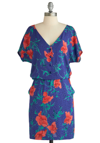 Accustomed to Your Vase Dress - Purple, Orange, Green, Polka Dots, Floral, Buttons, Pockets, Casual, Short Sleeves, Spring, Summer, Mid-length
