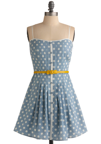 Loca for Polka Dress | Mod Retro Vintage Printed Dresses | ModCloth.com :  sky blue dotted belt sweet