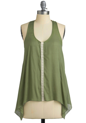 Fern of the Season Tank - Green, White, Solid, Backless, Crochet, Lace, Casual, Tank top (2 thick straps), Racerback, Spring, Summer, Mid-length