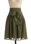 In Tandem Skirt in Olive - Green, Solid, Bows, Casual, A-line, Spring, Summer, Fall, Long, Military