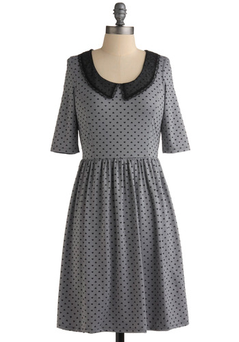 Demure So Sweet Dress by Miss Patina - Grey, Black, Polka Dots, Novelty Print, Lace, Trim, Party, Casual, Vintage Inspired, A-line, Short Sleeves, Peter Pan Collar, Mid-length