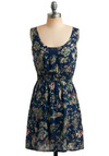By Night Dress - Blue, Multi, Green, Purple, Tan / Cream, Floral, Paisley, Bows, Casual, A-line, Sleeveless, Short