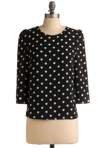 Lights in the Night Top - Black, White, Polka Dots, Exposed zipper, Casual, Urban, 3/4 Sleeve, Mid-length