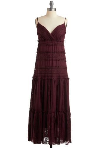 One with Nature Dress in Wine - Red, Lace, Tiered, Casual, A-line, Empire, Maxi, Spaghetti Straps, Spring, Summer, Fall, Long, Boho