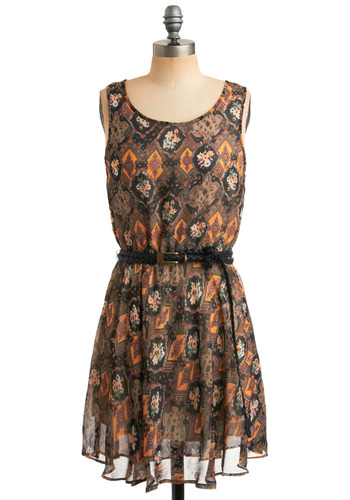 Boho It All Dress - Multi, Orange, Green, Purple, White, Floral, Print, Braided, Buckles, Casual, Boho, A-line, Sack, Tank top (2 thick straps), Spring, Summer, Black, Mid-length, Press Placement
