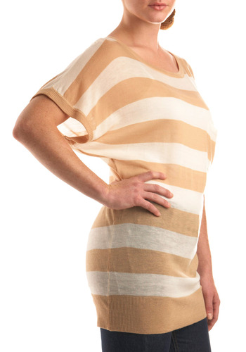 Art of Coffee Top - Tan, Cream, Stripes, Knitted, Casual, Short Sleeves, Long