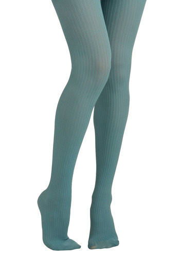 Front of the Line Tights in Teal - Blue, Solid, Stripes, Party, Work, Casual