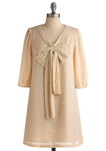 Fancy Fine Dress - Cream, Solid, Beads, Bows, Pleats, Sequins, Party, Casual, 3/4 Sleeve, Vintage Inspired, 60s, Mid-length, Pastel, Sheer, V Neck