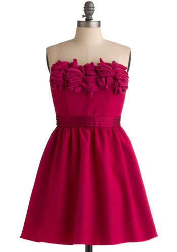 The Bouquet To Go Dress | Mod Retro Vintage Solid Dresses | ModCloth.com :  luxe flounce raspberry pleated