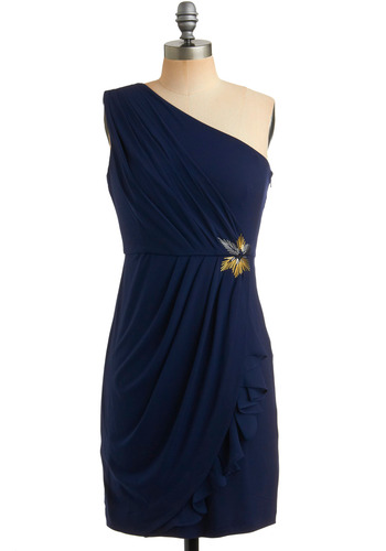 Bossa Nova Dress in Indigo - Blue, Solid, Beads, Pleats, Ruffles, Tiered, Party, Shift, One Shoulder, Mid-length