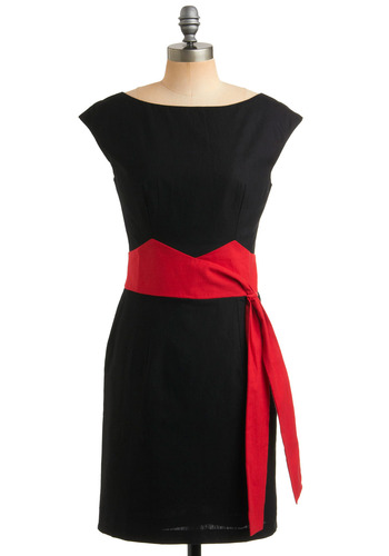 Seriously Smitten Dress - Black, Red, Bows, Formal, Wedding, Party, Work, Sheath / Shift, Sleeveless, Rockabilly, Pinup, Vintage Inspired, 40s, 50s, Mid-length