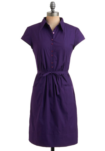 That Special Gal Dress - Purple, Solid, Bows, Buttons, Pockets, Casual, Vintage Inspired, 50s, Shirt Dress, Cap Sleeves, 40s, Mid-length