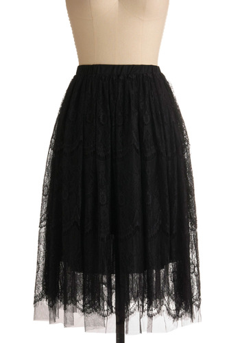 Ace of Lace Skirt - Black, Lace, Party, Casual, Boho, Film Noir, A-line, Long