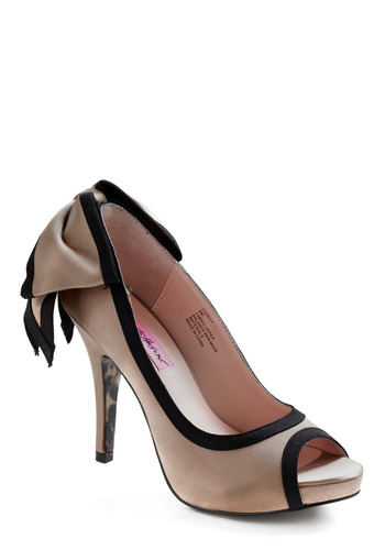 Betsey Johnson With My Peeps Heel by Betsey Johnson - Tan, Black, Bows, Cutout, Trim, Formal, Prom, Wedding, Party, Casual, Urban