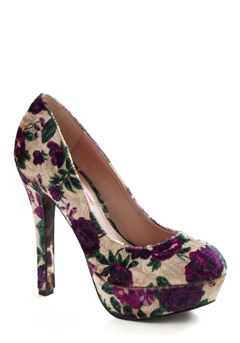 Betsey Johnson Velvet Vamp Heel by Betsey Johnson - Cream, Green, Purple, Floral, Formal, Wedding, Party, Casual, Luxe, Urban