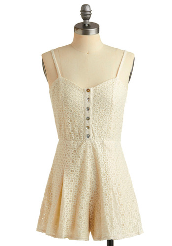 X's and O's Romper - Cream, Floral, Buttons, Lace, Pleats, Casual, Spaghetti Straps, Spring, Summer, Boho, Long