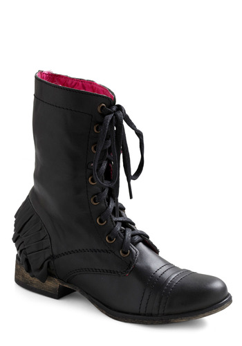 Betsey Johnson Ruffle It Up Boot by Betsey Johnson - Black, Solid, Bows, Exposed zipper, Ruffles, Military