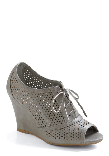 Can't Hardly Slate Wedge - Grey, Cutout, Casual, Wedge