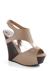 Toe to Taupe Wedge - Tan, Brown, Buckles, Cutout, Party, Casual, Spring, Summer, Wedge, High, Good, Platform, Slingback, T-Strap