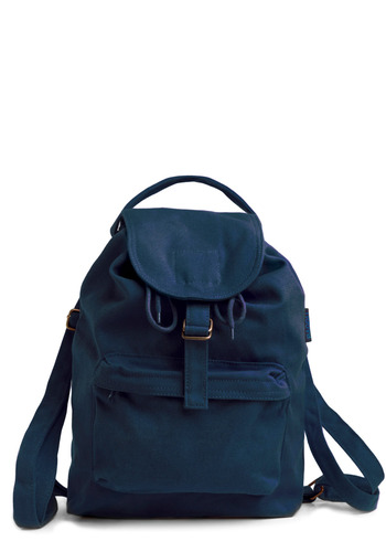 Street Team Backpack in Downtown - Blue, Solid, Bows, Buckles, Pockets, Casual, Spring, Summer, Fall