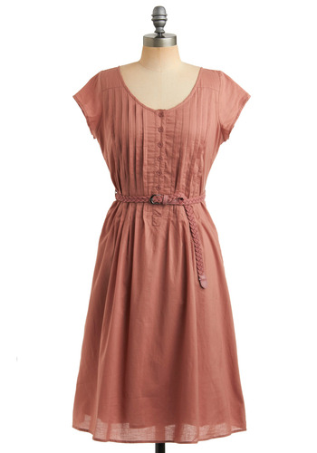 Family of Friends Dress - Pink, Solid, Braided, Buckles, Pleats, Casual, Vintage Inspired, A-line, Short Sleeves, Cap Sleeves, Spring, Summer, Fall, Long