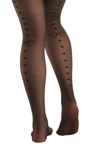 Bow-ing Up Tights - Black, Novelty Print, Party, Work, Casual