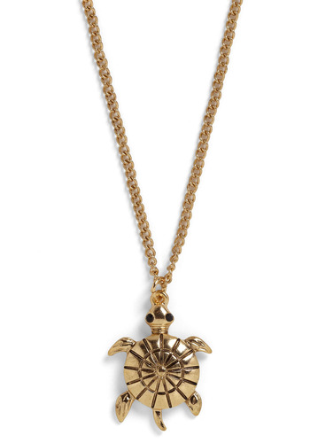 La Tortue Necklace - Gold, Chain, Rhinestones, Party, Work, Casual