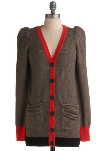 Knit Your Average Cardigan - Brown, Orange, Black, Solid, Buttons, Knitted, Pockets, Trim, Casual, Long Sleeve, Fall, Mid-length
