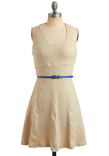 Getaway for the Day Dress - Cream, Blue, Buckles, Casual, A-line, Tank top (2 thick straps), Racerback, Spring, Summer, Mid-length