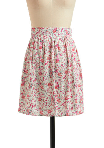Flowers of the Fuchsia Skirt - Cream, Green, Grey, Floral, Casual, Vintage Inspired, A-line, Spring, Summer, Print, Pink, Orange, Short