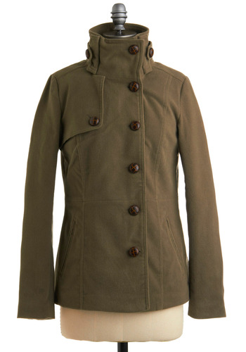Good Times to Come Coat by Jack by BB Dakota - Green, Solid, Buttons, Military, Long Sleeve, Fall, Winter, Mid-length, 3
