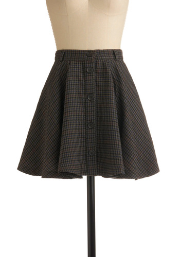 Going Study Skirt by Jack by BB Dakota - Grey, Red, Green, Blue, Plaid, Buttons, Pockets, Casual, Vintage Inspired, A-line, Spring, Summer, Fall, Mini, Short, Press Placement