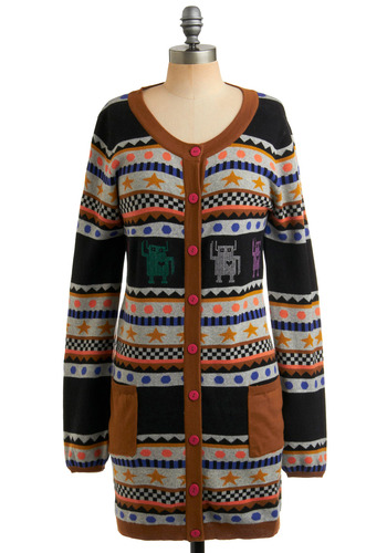 Sister Roboto Cardigan by Nümph - Multi, Blue, Pink, Brown, Black, Grey, Polka Dots, Stripes, Novelty Print, Buttons, Pockets, Casual, Vintage Inspired, 80s, Long Sleeve, Fall, Winter, Long
