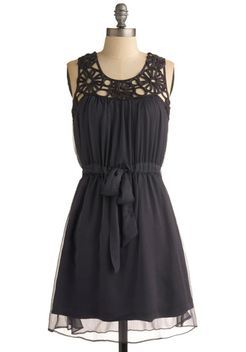 From Dusk Till Drawn Dress - Blue, Solid, Bows, Lace, Party, A-line, Sleeveless, Cutout, Mid-length