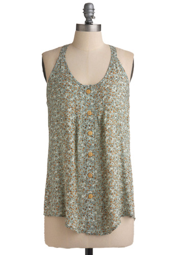 Flood of Buds Top - Tan / Cream, White, Floral, Buttons, Casual, Tank top (2 thick straps), Racerback, Spring, Summer, Multi, Green, Mid-length