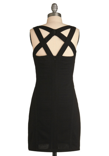 Crisscross Examination Dress - Black, Solid, Cutout, Party, Casual, Shift, Spaghetti Straps, Tank top (2 thick straps), Short