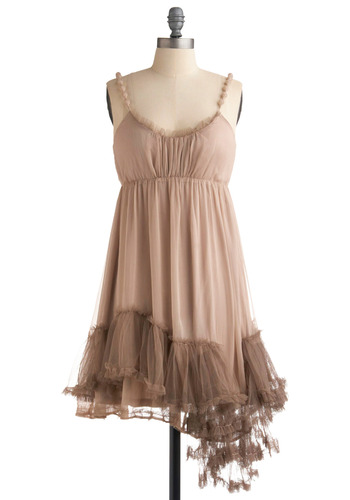 I Really Mist You Dress in Taupe by Ryu - Tan, Solid, Ruffles, Tiered, Trim, Party, Casual, A-line, Empire, Spaghetti Straps, Short