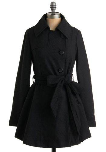 Night Was Dark Jacket by BB Dakota - Black, Solid, Buttons, Pleats, Pockets, Party, Work, Casual, A-line, Long Sleeve, Fall, Winter, Long, 3
