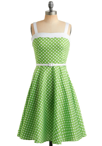 Lime In Love Dress - Green, White, Polka Dots, Buckles, Scallops, Trim, Party, Casual, Vintage Inspired, 60s, A-line, Tank top (2 thick straps), Spring, Summer, Long