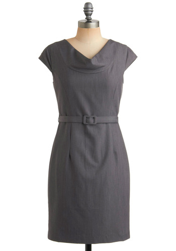 You'll Go Far Dress - Grey, Solid, Buckles, Work, Casual, Sheath / Shift, Cap Sleeves, Mid-length