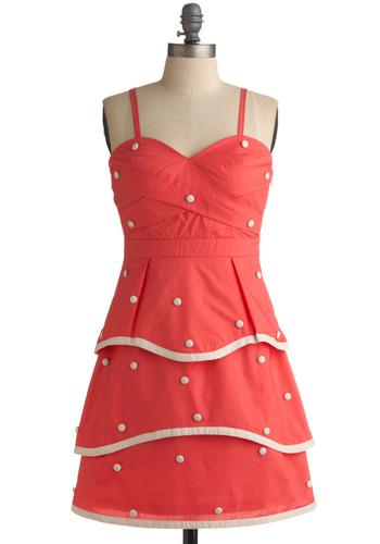 Object of Confection Dress - Pink, White, Polka Dots, Scallops, Tiered, Trim, Casual, A-line, Empire, Spaghetti Straps, Spring, Summer, Buttons, Short