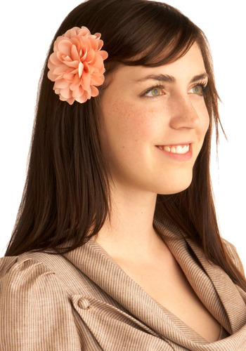 We've Only Just Begonia Hair Clip - Pink, Solid, Flower, Party, Work, Casual