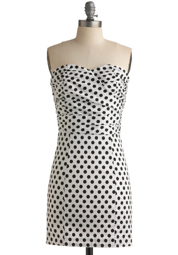 Interpunct Dress - White, Black, Polka Dots, Party, Shift, Strapless, Mid-length