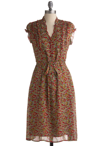 Feeling Scent-imental Dress - Multi, Red, Green, Blue, Floral, Bows, Pockets, Ruffles, Casual, A-line, Cap Sleeves, Spring, Summer, Long, Brown