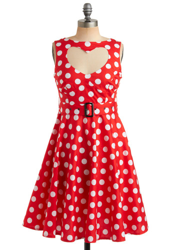 Coeur à la Crème Dress - Red, White, Polka Dots, Bows, Buckles, Cutout, Casual, A-line, Empire, Sleeveless, Spring, Summer, Pinup, Mid-length