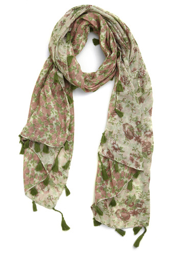 Forest Florals Scarf - Cream, Multi, Green, Pink, Floral, Tassels, Trim, Casual, Spring, Summer