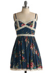 Awash in Ambrosia Dress - Blue, Green, Pink, Tan / Cream, Floral, Lace, Trim, Casual, A-line, Spaghetti Straps, Spring, Summer, Mid-length