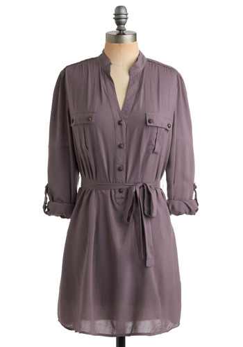 Be Kind, Unwind Dress - Grey, Solid, Buttons, Pockets, Casual, Shift, Shirt Dress, Long Sleeve, 3/4 Sleeve, Spring, Summer, Fall, Mid-length