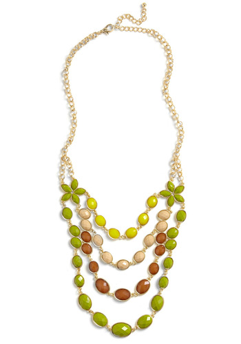 Tropical Conversation Necklace - Green, Yellow, Brown, Chain, Rhinestones, Party, Casual, Statement