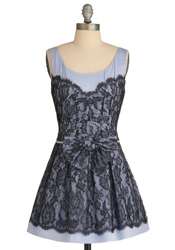 Prep for Class Dress - Blue, Black, Floral, Bows, Lace, Pleats, Wedding, Party, Casual, A-line, Tank top (2 thick straps), Mid-length